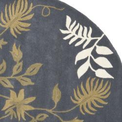 Safavieh Handmade Soho Twigs Dark Grey New Zealand Wool Rug (6' Round) - Thumbnail 1
