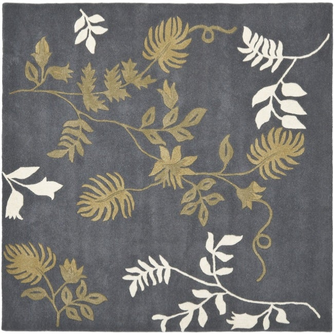 Safavieh Handmade Soho Twigs Dark Grey New Zealand Wool Rug (6' Square)