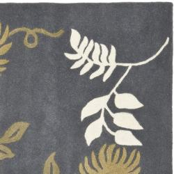 Safavieh Handmade Soho Twigs Dark Grey New Zealand Wool Rug (6' Square) - Thumbnail 1