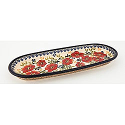 Handmade Oval Red and Blue Floral Polish Stoneware Serving Dish (Poland)