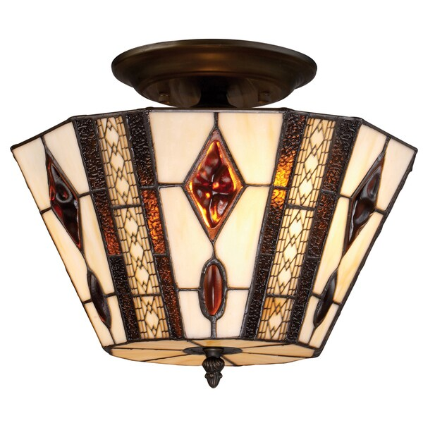 Tiffany-style Landmark Somerset Semi-flush Lighting