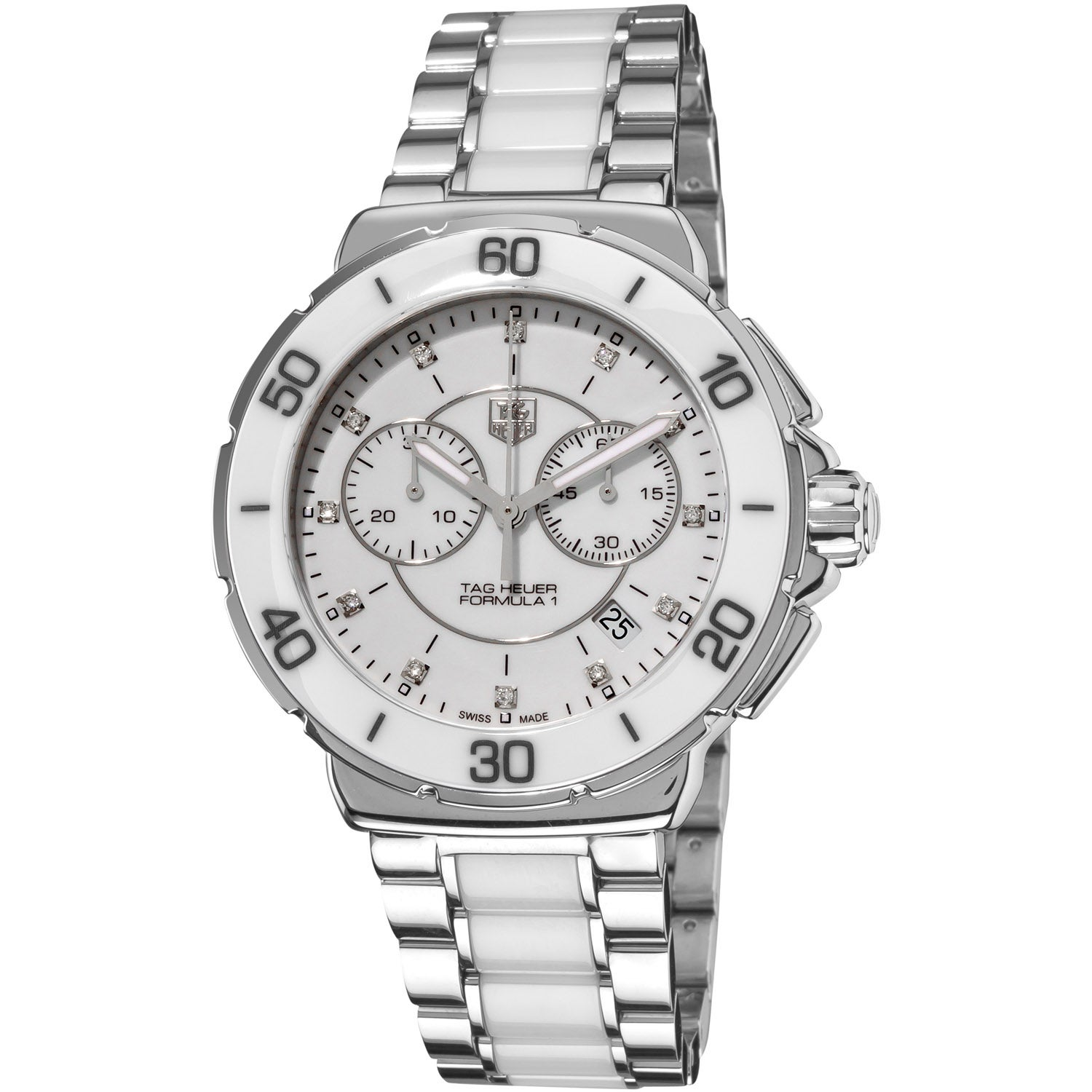 Shop tag heuer women 39 s cah1211 ba0863 39 formula 1 39 stainless steel white ceramic watch free for Tag heuer women