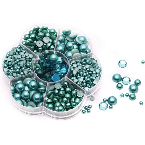 Fabscraps Turquoise Flat-back Pearl/ Rhinestone Pack