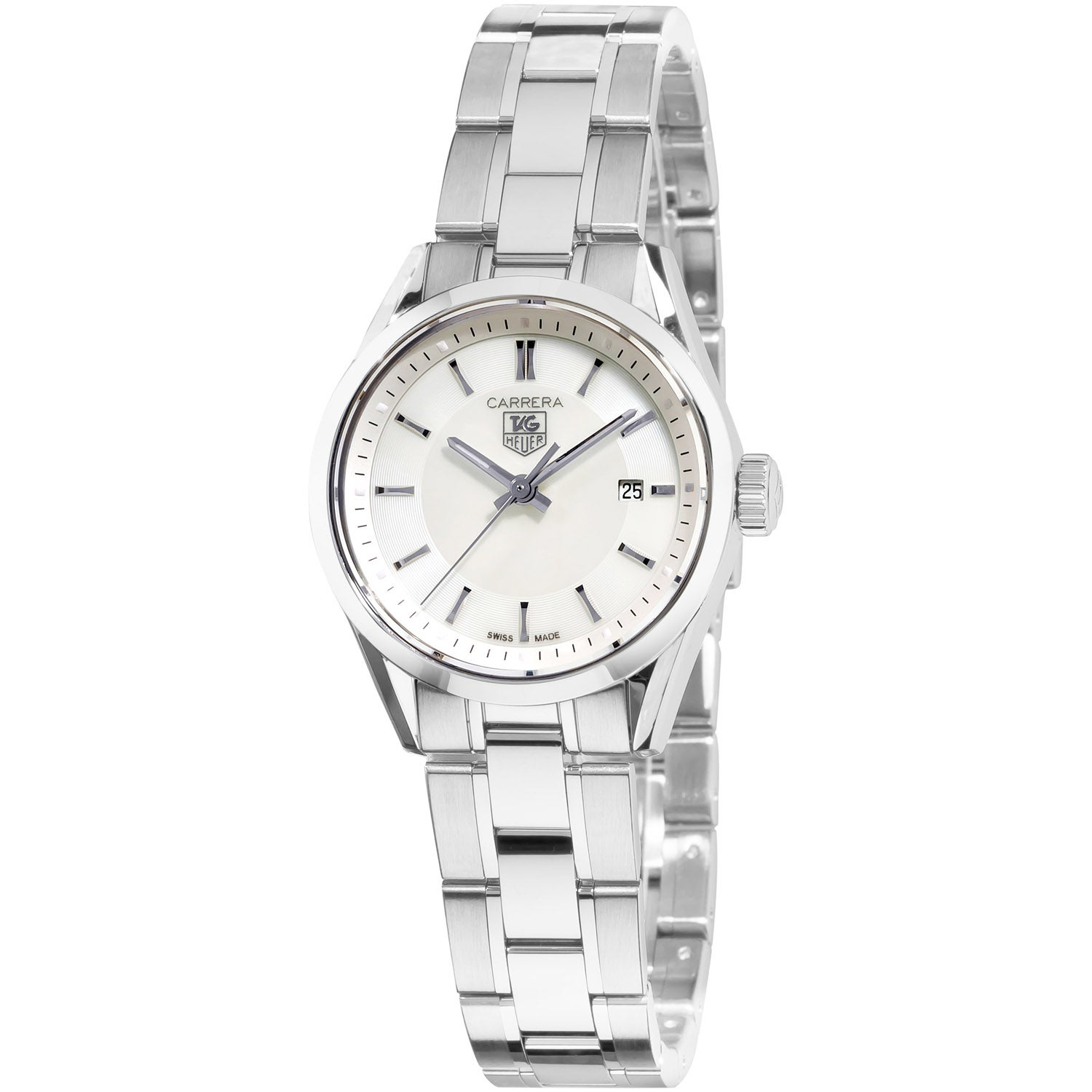 Tag heuer women 39 s wv1415 ba0793 39 carrera 39 mother of pearl dial stainless steel watch free for Tag heuer women