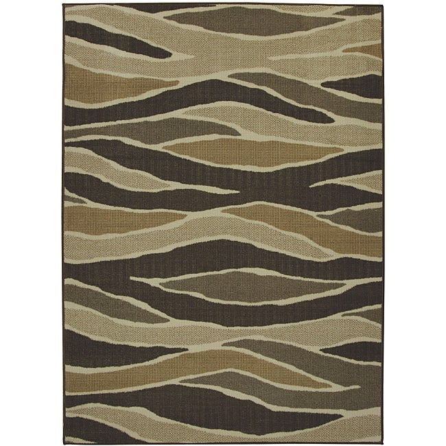 Somette Fluidity Chocolate Indoor/Outdoor area Rug (5'x7')