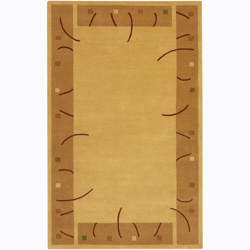 Hand-tufted Mandara Gold Wool Rug (7'9 x 10'6)