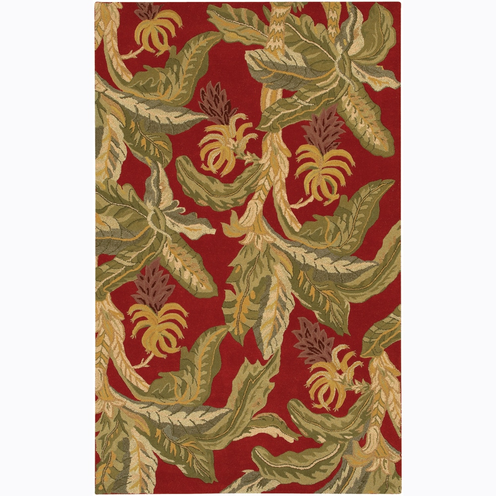 Contemporary Hand-tufted Mandara Red Wool Rug (5' x 7'6)