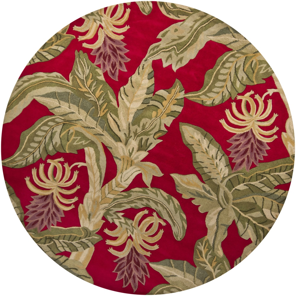 Hand-tufted Mandara Red Floral Wool Rug (7'9 Round)