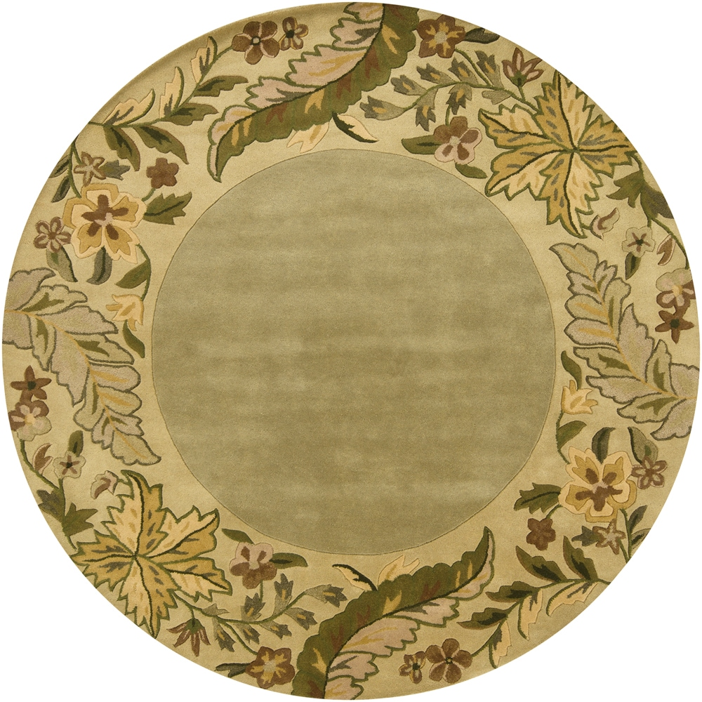 Hand-tufted Mandara Floral Border Wool Rug (7'9 Round)