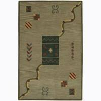 Artist's Loom Hand-tufted Contemporary Geometric Wool Rug - 2' x 3'