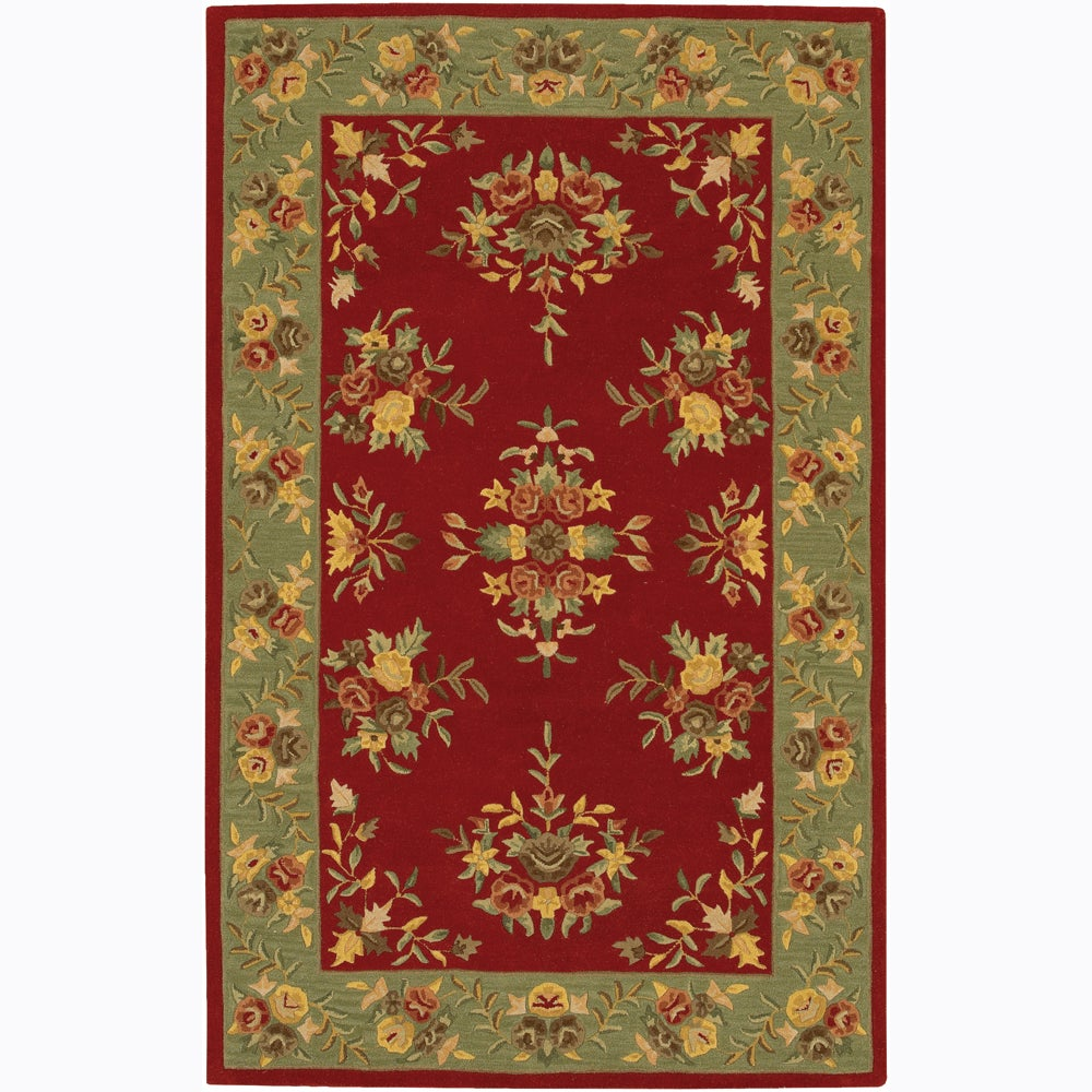 Artist's Loom Hand-tufted Traditional Floral Wool Rug (5'x7'6)