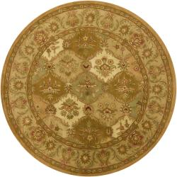 Artist's Loom Hand-tufted Traditional Floral Wool Rug (7'9 Round) - 7'9 - Thumbnail 0