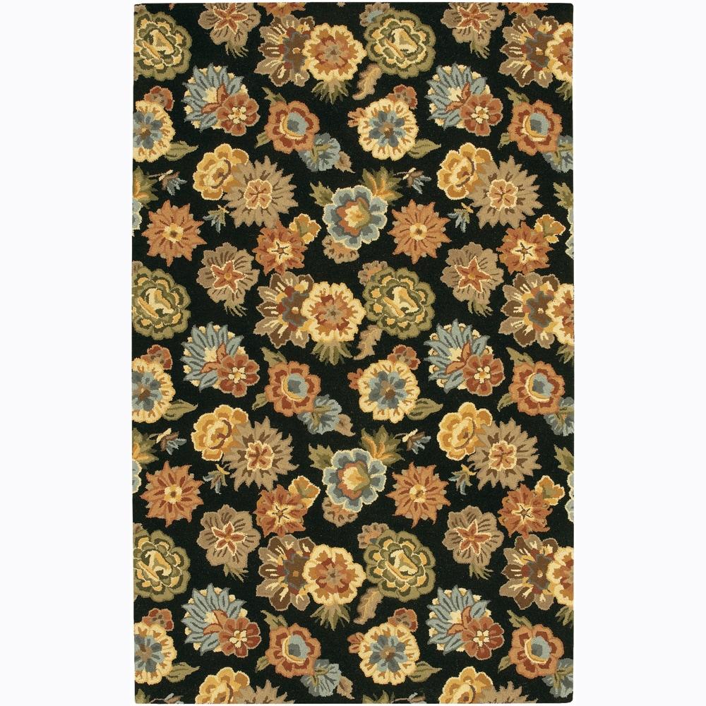 "Hand-Tufted Mandara Floral Black Wool Area Rug (7'9"" x 10'6"")"