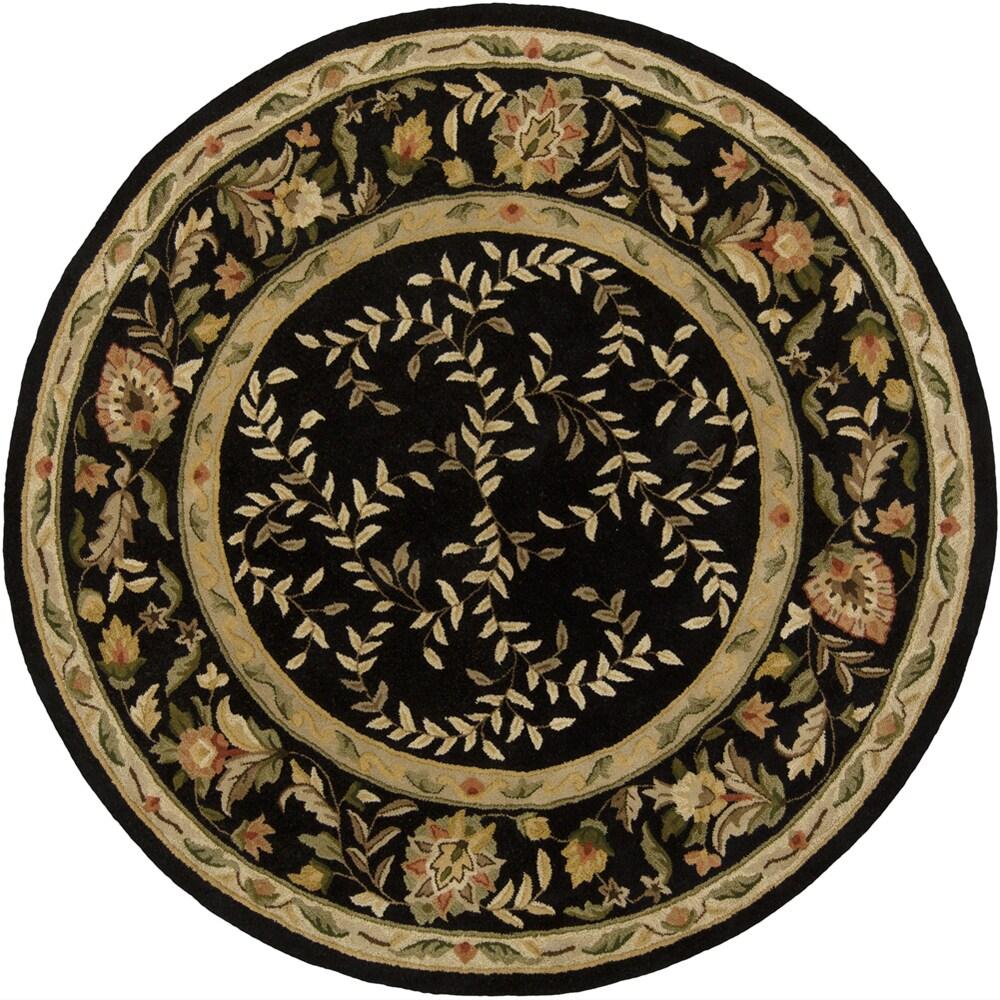 "Indian Hand-Tufted Mandara Floral Black Wool Rug (7'9"" Round)"
