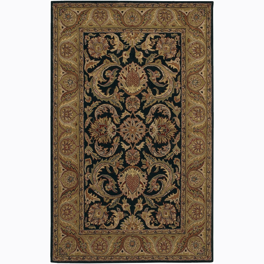 Hand-Tufted Mandara Black Floral Traditional Wool Rug (7'9 x 10'6)
