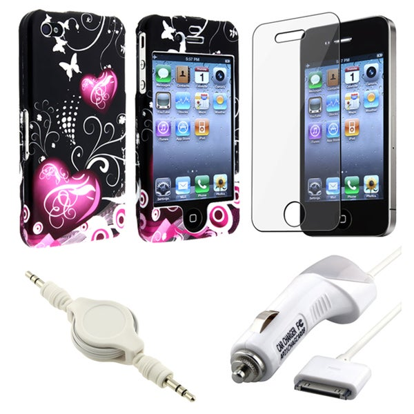 INSTEN Phone Case Cover/ Screen Protector/ Car Charger/ Cable for Apple iPhone 4S