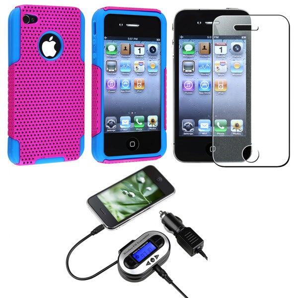 Hybrid Case/ Screen Protector/ FM Transmitter for Apple iPhone 4S