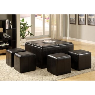 Furniture of America Miller Faux Leather Storage Ottoman with Four Nesting Stools and Serving Trays