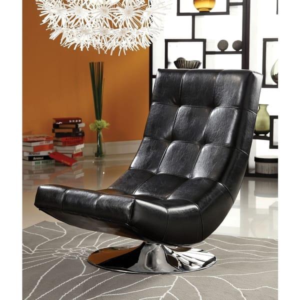 Shop Furniture of America Poss Modern Faux Leather Swivel ...