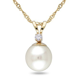 Miadora 14k Cultured Pearl Diamond Pendant (7-7.5 mm)