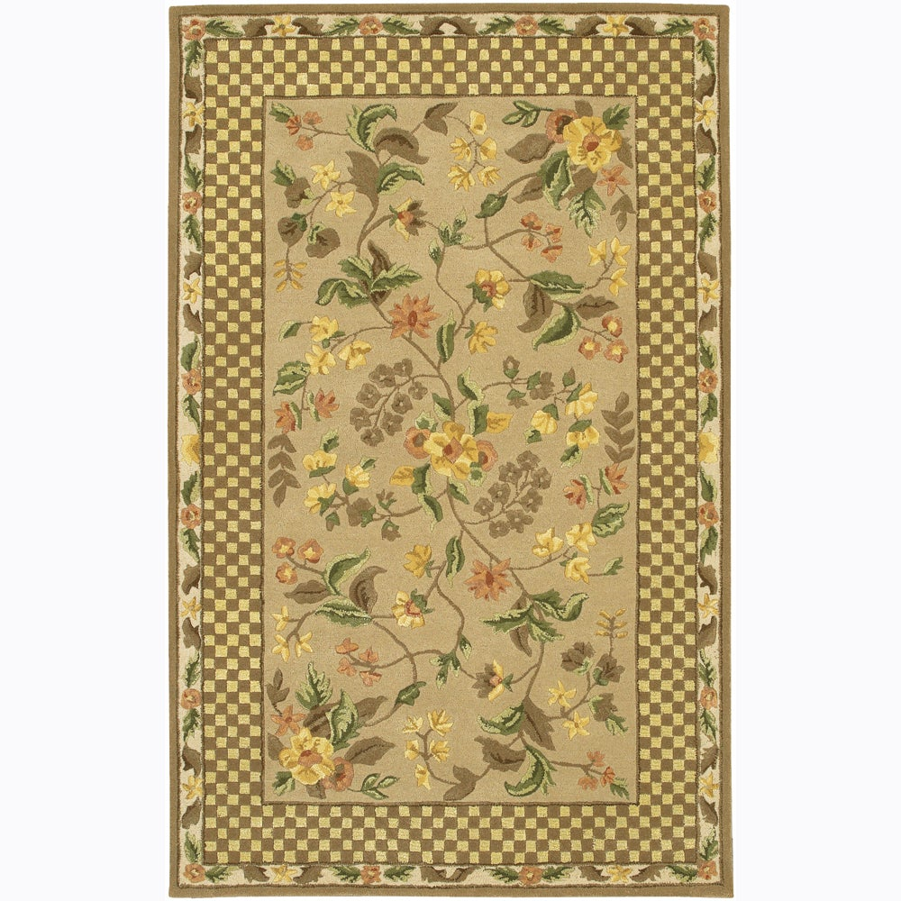 Artist's Loom Hand-tufted Transitional Floral Wool Rug (7'9x10'6)