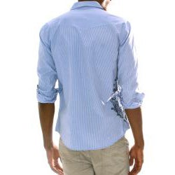 191 Unlimited Men's Blue Screen Print Detail Shirt