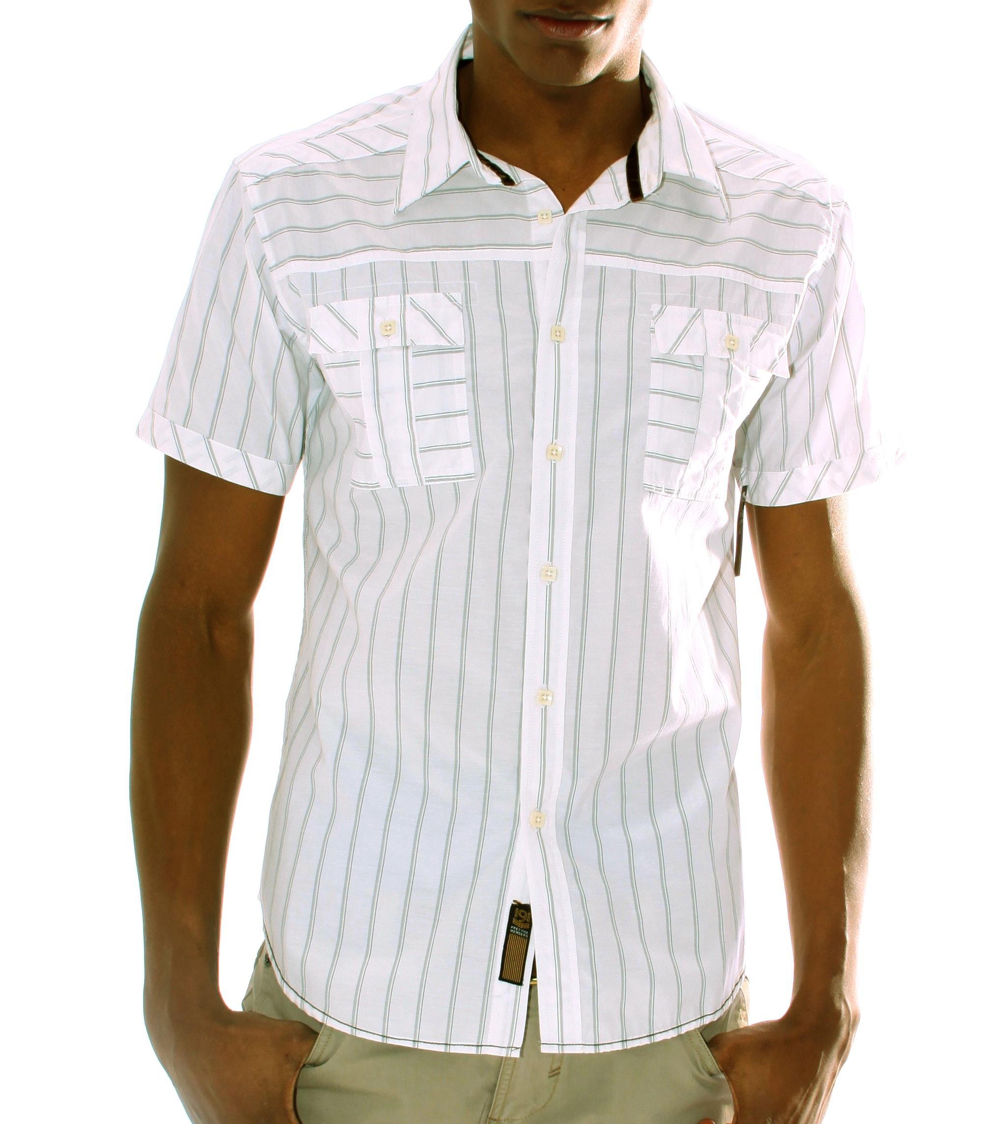 191 Unlimted Men's White Striped Shirt