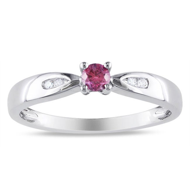 Miadora Sterling Silver 1/5ct TDW Pink and White Diamond Ring