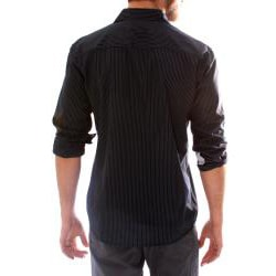 191 Unlimited Men's Black Embroidered Stripe Shirt - Thumbnail 1