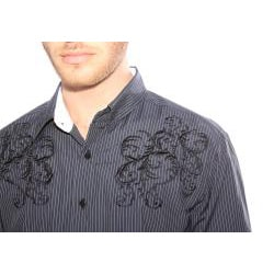191 Unlimited Men's Black Embroidered Stripe Shirt - Thumbnail 2