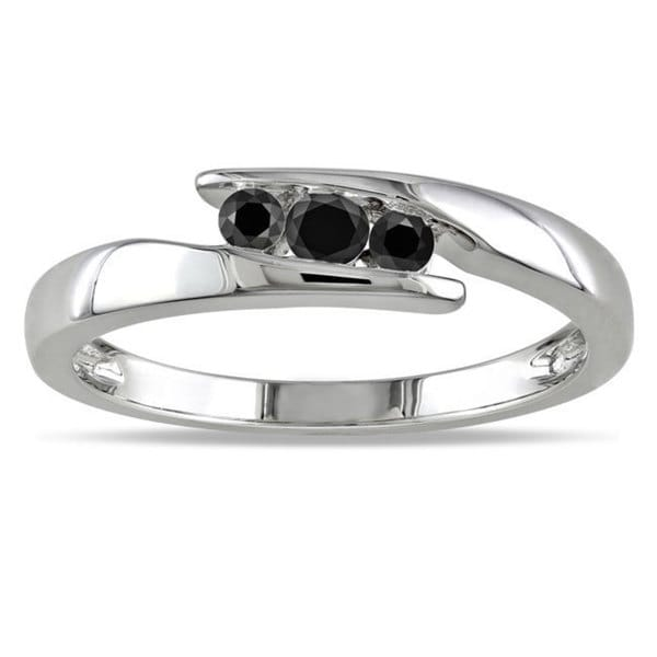 Miadora Sterling Silver 1/5ct TDW Black Diamond Ring