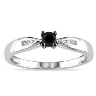 Miadora Sterling Silver 1/5ct TDW Black and White Diamond Ring