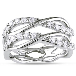 Miadora Sterling Silver Cubic Zirconia Criss-cross Multi-row Ring (More options available)