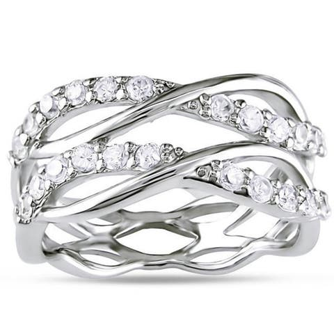 Miadora Sterling Silver Cubic Zirconia Multi-row Eternity Ring