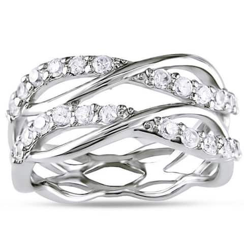 Miadora Sterling Silver Cubic Zirconia Criss-cross Multi-row Ring