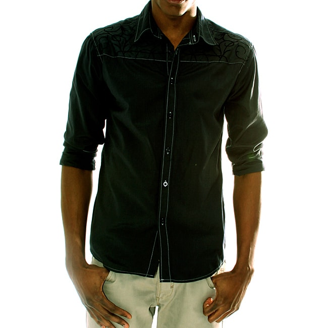 191 Unlimited Mens Charcoal Embroidery Shirt Free Shipping Today