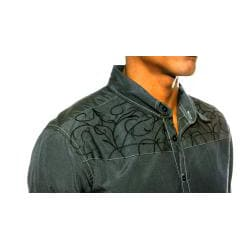 191 Unlimited Men's Charcoal Embroidery Shirt - Thumbnail 2
