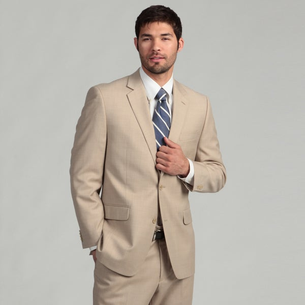 MICHAEL Michael Kors Men's 2-button Tan Sharkskin Wool Blend Suit