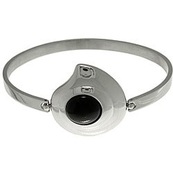 Carolina Glamour Collection Stainless Steel Black Agate Teardrop Hinged Bangle