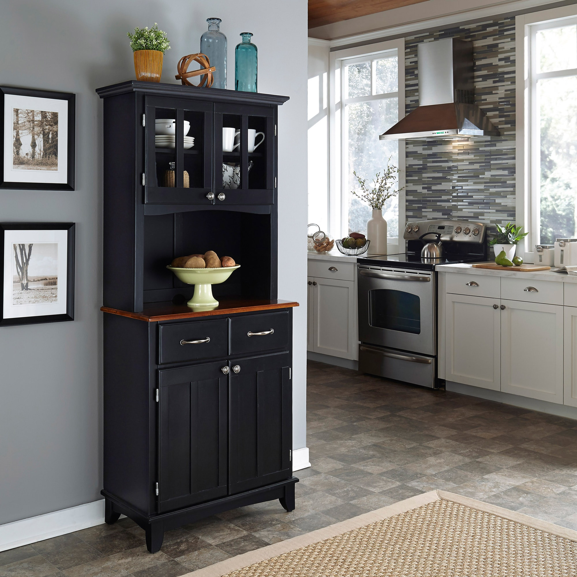 Black Hutch Buffet With Wood Top By Home Styles