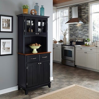Beautiful Black Hutch Buffet With Wood Top By Home Styles