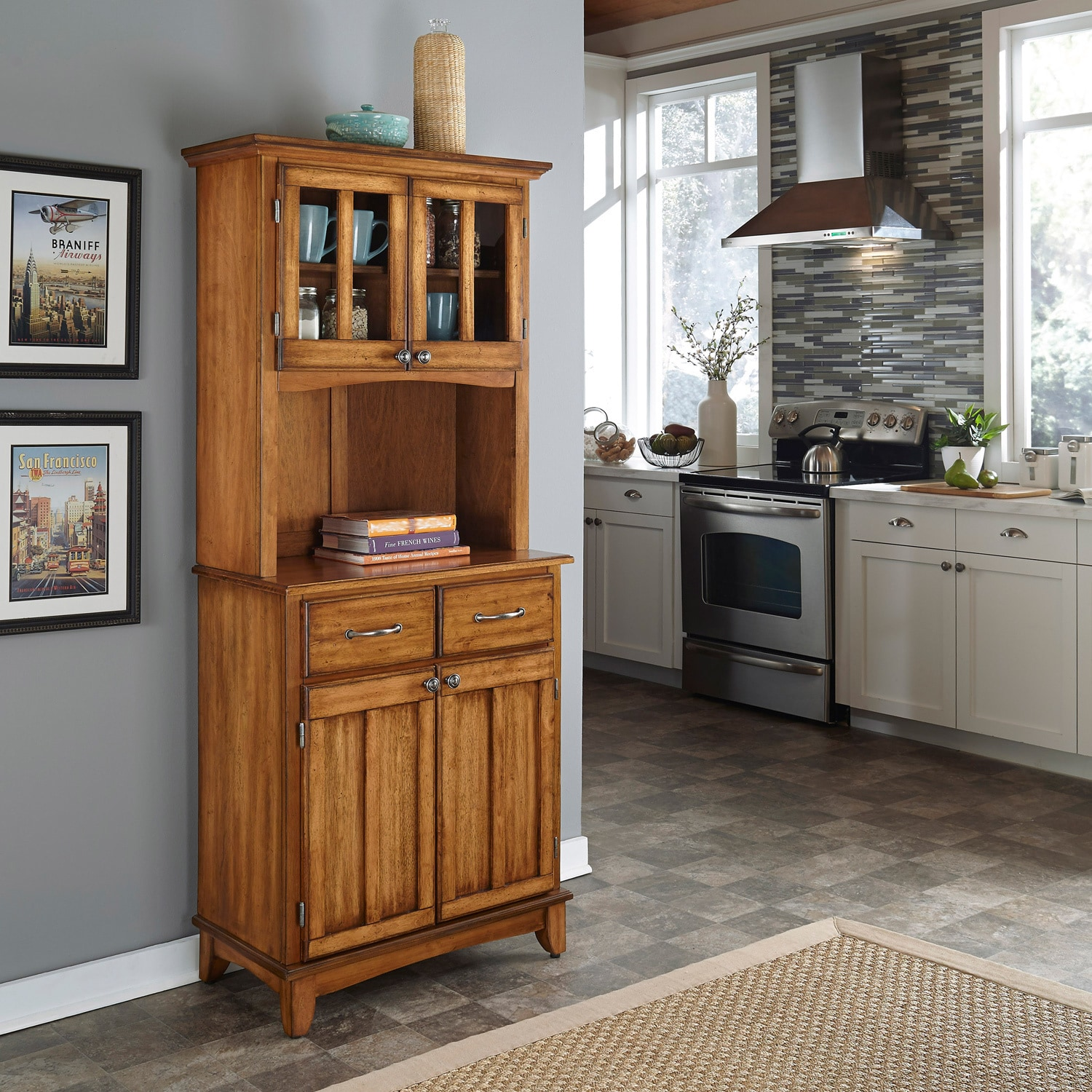 Cottage Oak Hutch Buffet with Wood Top by Home Styles (Bu...