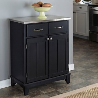 Gracewood Hollow Pasolini Black Buffet with Stainless Top