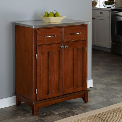 Copper Grove Darlington Medium Cherry Buffet with Stainless Steel Top