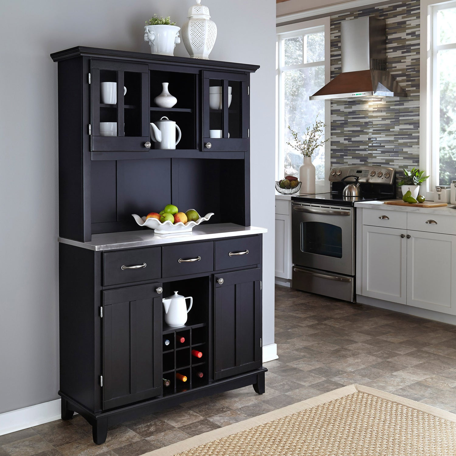 Picture of: Shop Black Friday Deals On Black Hutch Buffet With Stainless Top By Home Styles Overstock 6548355