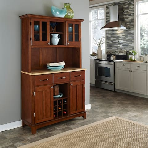 Medium-Cherry Hardwood Hutch Buffet with Wood Top by Home Styles