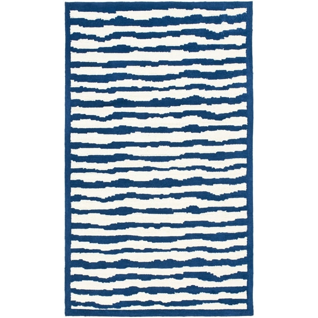 Safavieh Handmade Children's Stripes Ivory/ Blue N. Z. Wool Rug (3' x 5')