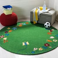 Safavieh Handmade Children's Summer Grass Green N. Z. Wool Rug - 8' x 8' Round