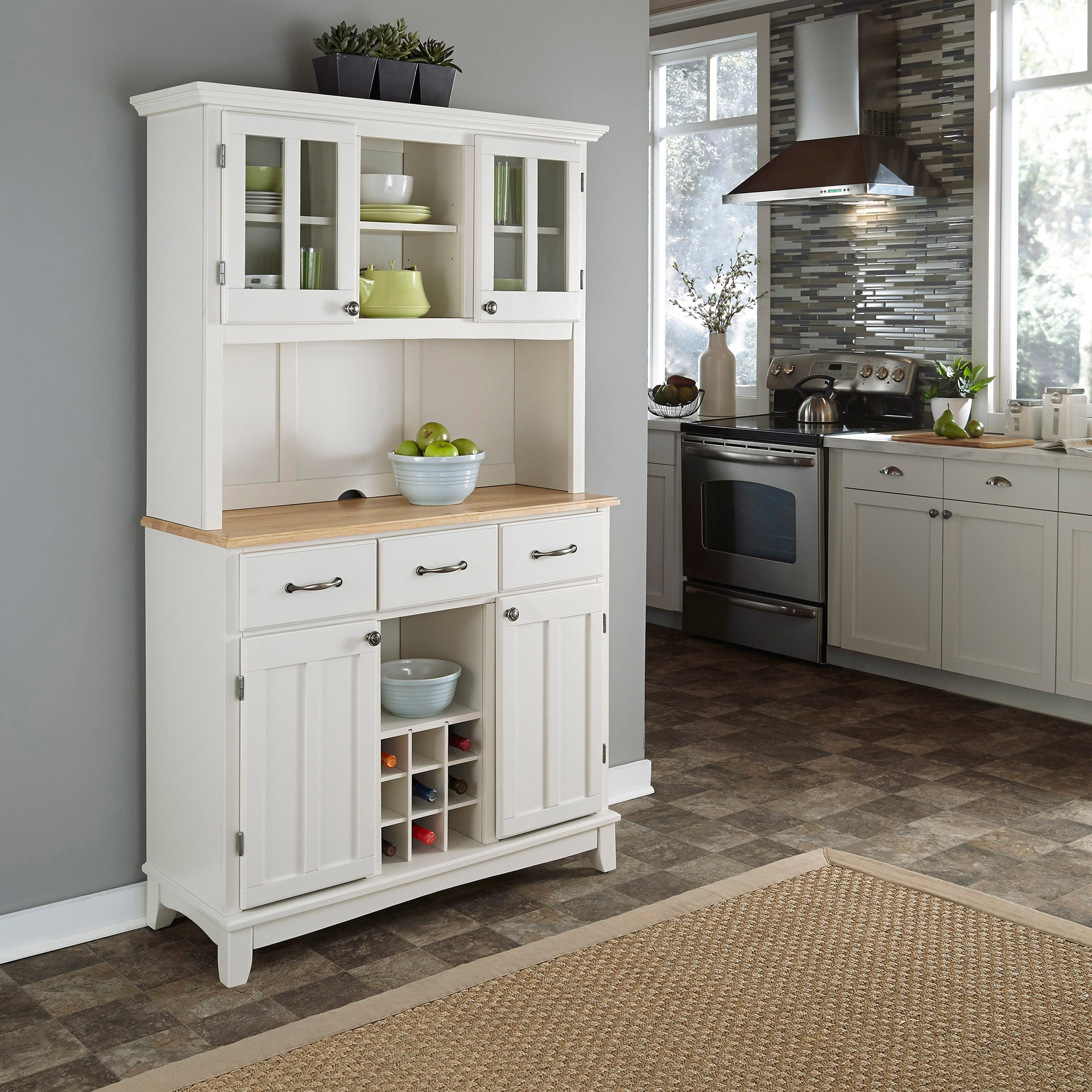White Hutch Buffet with Wood Top by Home Styles (Buffet o...