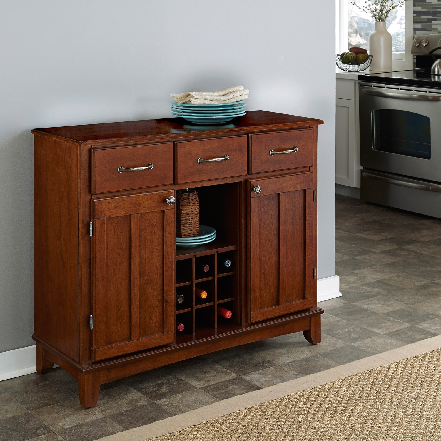 Medium Cherry Buffet with Wood Top by Home Styles (Buffet...